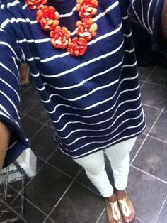 Navy blue, stripes, white pants, and sandals - perfect for a summer evening.I have all the elements for this outfit Passion For Fashion, Love Fashion, Womens Fashion, Prep Fashion, Trendy Fashion, Spring Summer Fashion, Spring Outfits, Preppy Style, My Style