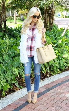 white fur vest with jeans, Fashion guide for fall street styles http://www.justtrendygirls.com/fashion-guide-for-fall-street-styles/