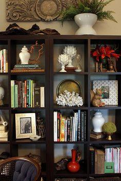 bookcase styling Ikea Kallax in espresso