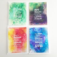 Quick & Easy Card Set Using Ken Oliver Color Bursts | Happy Crafting | Blitsy - spray w/c paper and use Color Burst - confine this process in a shoe box.