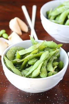 Steamed Edamame by kevinandamanda: We LOVE steamed edamame (eda-mommy) around here!! They are so salty and delicious and perfect for snacking! They're fun to pop out of their shells and eat them straight from the pod. They make an excellent appetizer and perfect side dish.  #Edamame #Healthy