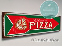 Vintage Style Pizza Sign -UV Protected Weatherproof Signs Suitable for Outdoor or Indoor Use - Exclusively from Classic Metal Signs Drink Signs, Bar Signs, Pizza Sign, Home Wet Bar, Vintage Style, Vintage Fashion, Cafe Sign, Sports Signs, Custom Metal Signs