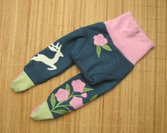 Cute wool longies for a little girls, wool diaper cover for cloth diapers. #sosimplenatural