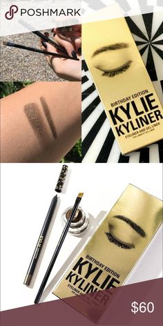 Kylie Kyliner Kit Birthday Bronze w/Gold Authentic Birthday edition Bronze Kyliner - infused with real gold! BNIB  Offers only through offer button. Paying for a surprise hysterectomy in my 20's so be reasonable, please. 🏥💉💊 Kylie Cosmetics Makeup Eyeliner