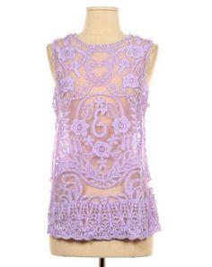 Ingrid Lavender Purple Vtg Lace Hippie Blouse Tunic Top M Anthropologie Gift | eBay
