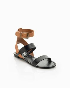 i want a two-tone strappy sandal like this. I love the look of the straight across strap at the toes.