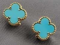 Van Cleef & Arpels Alhambra earrings turquoise