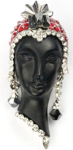 Deco Style Blackamoor Lady's Head with Headdress and Pendant Earrings Brooch