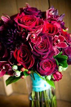 burgundy dahlia and rose.