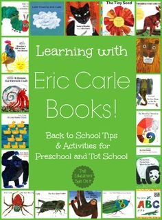 Tips for Learning with Eric Carle Books! Learning with Eric Carle Books! Back to School Tips & Activities for Preschool and Tot School. @ The Educators' Spin On It The post Tips for Learning with Eric Carle Books! appeared first on School Ideas. Preschool Literacy, Preschool Books, Literacy Activities, In Kindergarten, Preschool Themes By Month, English Activities, Eric Carle, Tot School, School Tips