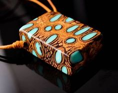 Turquoise Resin and Banksia Seed Pod Pendant Wood and Resin