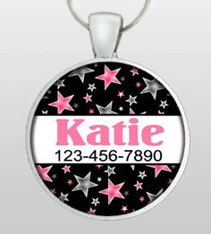 Custom Pet ID Tag - Dog Name ID Tag - Cat Name ID Tag -  Custom name & phone number. Black with Pink and Grey Stars.