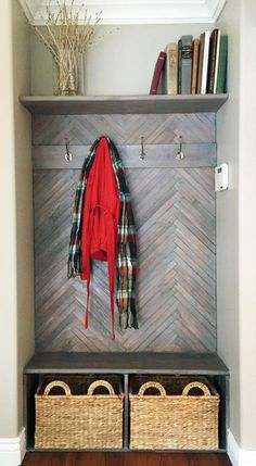DIY Herringbone Mud Bench - I would love this on any wall but it certainly adds interest to a space that can be mundane. Front Closet, Entry Closet, Hall Closet, Closet Mudroom, Closet Space, Herringbone Wall, Herringbone Pattern, Herringbone Backsplash, Home Decor Hacks