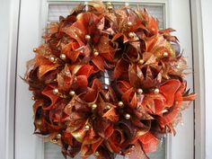 Deco Mesh Fall Door Wreath by DecoDzigns on Etsy, $115.00