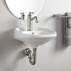 "Ultra Petite Victorian Wall-Mount Sink - Single Hole Drilling - WhiteLength:14-3/4""  Width:  15"