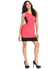 RACHEL Rachel Roy Dress, Sleeveless High-Neck Colorblocked