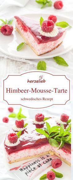 Himbeeren Rezept: Schwedische Himbeer-Mousse-Tarte mit Marzipan-Boden von herzelieb. Ganz einfach und schnell einen Kuchen auf dem Tisch!