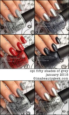 OPI Fifty Shades of Grey. Limited Edition January 2015. The swatches are now up @ www.imabeautygeek.com