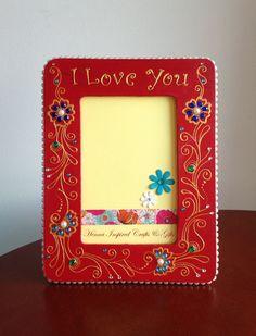 Red Frame Henna Inspired Wooden Frame by HennaCraftsbyPramila