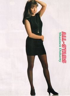 This sexy short dress nice legs pinup of Shannen Doherty is from Teen Beat All Stars magazine. Beautiful Celebrities, Beautiful Actresses, Shannon Dorothy, Beverly Hills, Pantyhose Outfits, Pantyhose Legs, Jonathan Taylor Thomas, Charmed Tv Show, Star Magazine