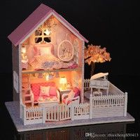 Please Kind know Gifts New Brand DIY Doll Houses Wooden Doll House Unisex 3d dollhouse Kids Toy Do