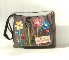 Diaper Bag - Messenger Bag - School Bag - Canvas / Custom Order / Adjustable Strap with lots of interior pockets. $78.00, via Etsy.