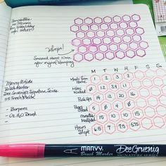 WEBSTA @ michelle_c_roebuck - I've fallen down the hole and I don't wanna climb out! Found a honeycomb stamp at Hobby Lobby today and a quick count told me it was 7 by Sounds like a weekly habit tracker to me! Here's my test page. Bullet Journal Tracker, Bullet Journal Book, Planner Bullet Journal, Organization Bullet Journal, Bullet Journal Layout, My Journal, Bullet Journal Inspiration, Journal Pages, Bujo