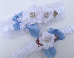 White Organza Something Blue Bridal Garter Set от AGoddessDivine