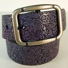 Women's leather belt Dark Brown leather belt Handmade belt with embossed roses & leaves Leather belt for women Custom leather belts
