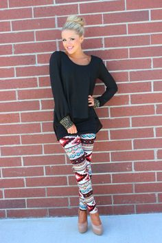 Wearing the Aztec Print leggings