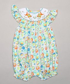 Look what I found on #zulily! Green & Yellow Fish Smocked Bubble Romper - Infant by Classy Couture #zulilyfinds