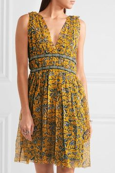 Étoile Isabel Marant | Balzan gathered printed silk-georgette mini dress | NET-A-PORTER.COM