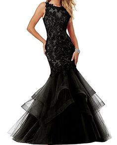 Womens Prom Dresses Long 2017 Applique Party Ball Gown Mermaid Black Evening Dress -- You can get additional details at the image link-affiliate link. #HomecomingDresses 2017