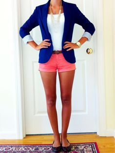 Love this outfit - royal blue blazer & pink shorts. Ditch the skank shorts and go with coral pants to make it more appropriate.