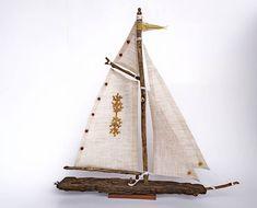 Voilier, bois flotté, bateau maquette, décor nautique, bord de mer, objet déco chambre enfant, fête, petit cadeau noël, décor chalet