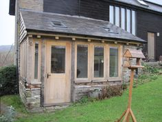 Case Study - Replacement oak framed conservatory with wind bracing for added interest and to reduce the need for a heavy purlin. Porch Uk, Cottage Porch, Side Porch, Garage Extension, Cottage Extension, Extension Ideas, Small Front Porches, Front Porch Design, Porch Architecture