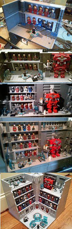 Stark Industries Armory - Iron Man Hall of Armor LEGO http://www.Adopt-A-Brick.com/