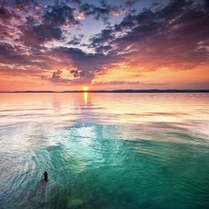Submarine - A colorful sunset at lake Balaton, Hungary