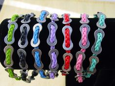 Bike Jewelry - Colorful braided leather and bicycle chain plate bracelet-black. $15.00, via Etsy.
