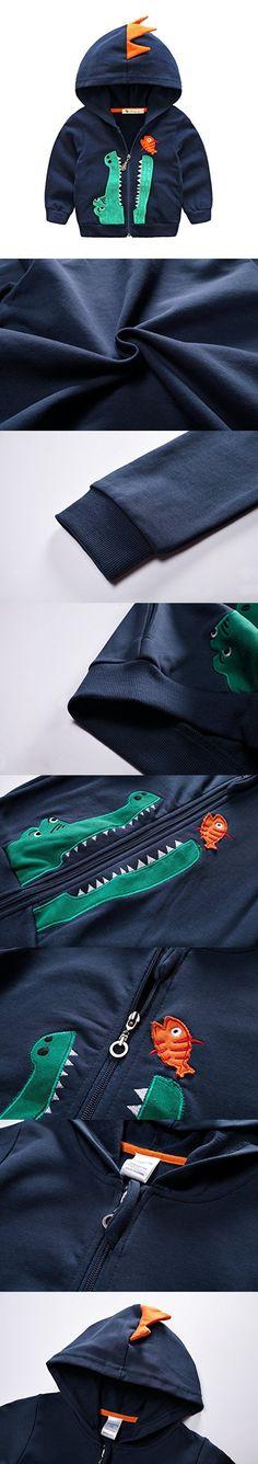 Baby Boys Long Sleeve Dinosaur Hoodies Kids Sweatshirt Toddler Zip-up Jacket, Navy, 3T/4T