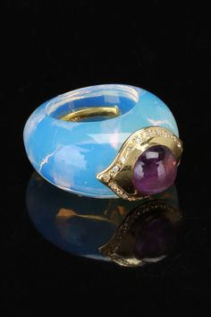 Blue Topaz Ring With 14k Yellow Gold, Diamond & Amethyst