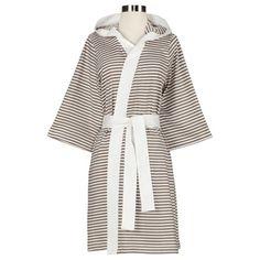 0b0d4f858f Women s Organic Cotton Stripe Bath Robe (Silver Small Med)