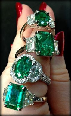 Emerald and diamond rings by JB Star.                                                                                                                                                      More