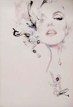 Portrait Drawings and Watercolors at - David Downton – Marilyn Monroe Marilyn Monroe Tattoo, Marilyn Monroe Kunst, Marilyn Monroe Artwork, Marilyn Monroe Drawing, Gif Kunst, Arte Fashion, Fashion Fashion, Fashion Design, Art Deco Posters