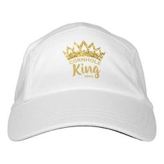 Let them know you're the Cornhole King with this fun custom hat featuring a gold glitter crown. Personalize it with your own phrase and date. Feel free to contact me if you need help or a custom order.