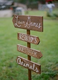 Lawn games - restrooms - guest book - ANIMALS - Upstate NY Farm Wedding captured by Kate Murphy - via ruffled