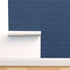Grasscloth Fabric and Wallpaper in Navy - Spoonflower