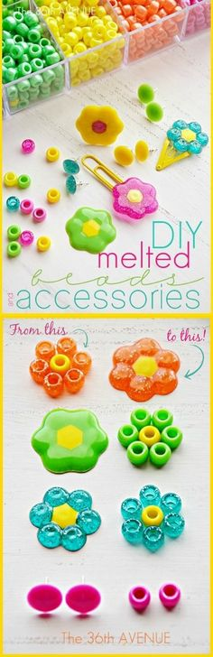 DIY Melted Beads Crafts and Accessories are so much fun to make! My girls love making hair accessories and handmade jewelry with them and also they make the cutest party favors and handmade gifts… Take a look!   Have you ever made accessories with melted beads? They are so fun and easy to do! During the weekend …