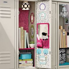 Locker decoration school lockers for home metal kit best decor images on stuff and hacks small . Girls Locker Ideas, Cute Locker Ideas, Diy Locker, Locker Stuff, Locker Storage, Cute Locker Decorations, School Decorations, Middle School Lockers, Back To School