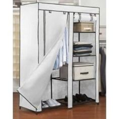 Portable Closet by Kennedy Home Collections Ikea Shelves, Closet Shelves, Closet Storage, Wardrobe Storage, Bedroom Wardrobe, Wardrobe Closet, Closet Bedroom, Closet Space, Portable Wardrobe